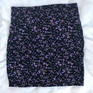 Floral cotton mini skirt